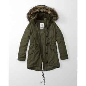 Womens Sherpa-Lined Military Parka