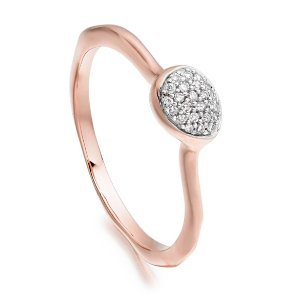 Siren Diamond Small Stacking Ring in 18ct Rose Gold Vermeil on Sterling Silver with Diamond | Jewellery by Monica Vinader