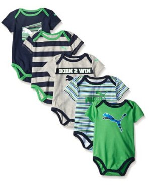 PUMA Boys' 5 Pack Bodysuit Pack