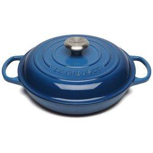 Le Creuset Signature Cast Iron Shallow Casserole Dish - 26cm - Marseille Blue Homeware   TheHut.com
