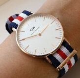 Daniel Wellington 0102DW Men's Rose Gold Steel Nylon Strap Watch