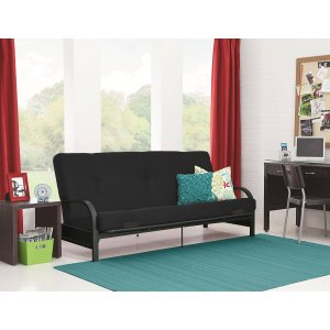 Mainstays Black Metal Arm Futon with 6