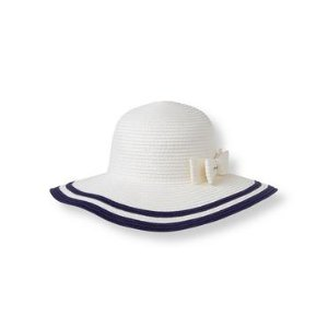 White Striped Straw Hat at JanieandJack