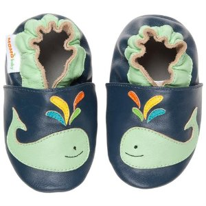 Momo Baby Soft Sole Leather Crib Bootie Shoes - A Whale of a Time - Rakuten.com