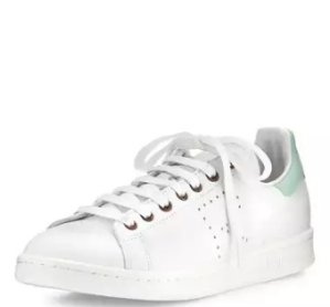 Adidas by Raf Simons Stan Smith Vintage Perforated Leather Sneaker, White/Light Green @ Neiman Marcus