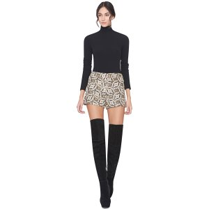 Black/Cream/Gold Marisa Back Zip Shorts