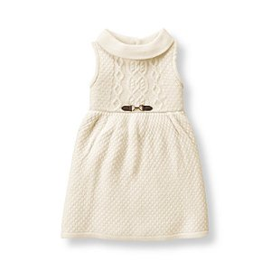 Baby Girl Ivory Cable Sweater Dress at JanieandJack