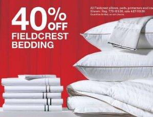 2016 Black Friday! 40% Off Fieldcrest bedding