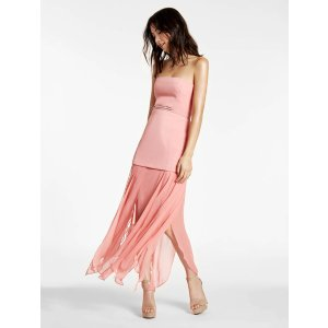 Strapless Crepe Georgette Combo Gown