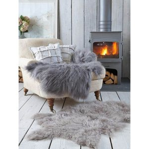 Royal Dream Large Sheepskin Rug - Grey Traditional Gifts   TheHut.com