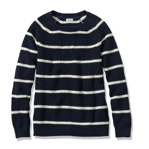 Women's Bean's Shaker-Stitch Pullover Crewneck Sweater, Stripe   Now on sale at L.L.Bean
