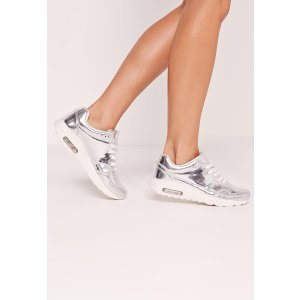 Mirrored lace up bubble trainer Silver