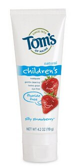 Tom's of Maine Fluoride Free Children's Toothpaste, Silly Strawberry, 4.2 oz (Pack of 3)