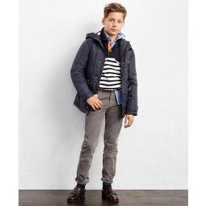 Boys' Navy Blue Nylon Hooded Jacket | Brooks Brothers