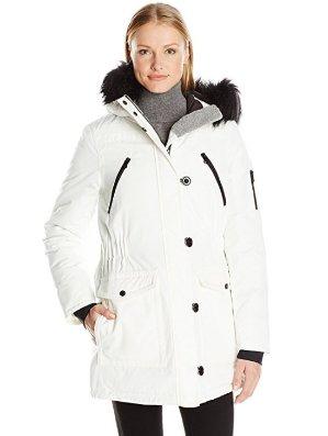 $30.02起Nautica Faux Fur Hood Strip 女款大衣