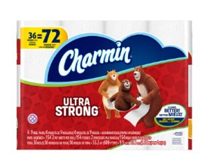 $11.54Charmin Ultra Strong Toilet Paper, 36 Double Rolls