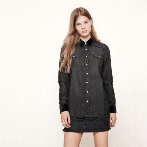CHELY Denim shirt with velvet details - Tops - Maje.com