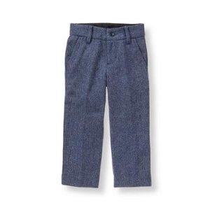Baby Boy Navy Herringbone Herringbone Suit Trouser at JanieandJack