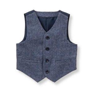 Baby Boy Navy Herringbone Herringbone Suit Vest at JanieandJack