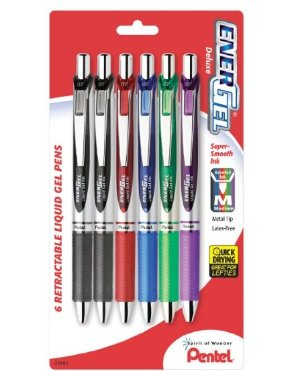 Pentel EnerGel Deluxe RTX Gel Ink Pens, 0.7 Millimeter Metal Tip, Assorted Colors, 6 Pack