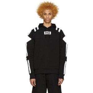 Hood by Air: Black & White Logo Fracture Hoodie