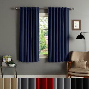 Aurora Home Solid Insulated Thermal Blackout 63-inch Curtain Panel Pair - Free Shipping Today - Overstock.com - 11109716