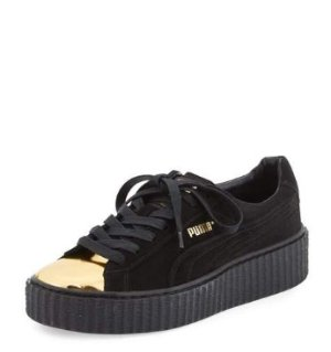 $110 Puma Basket Suede Cap-Toe Creeper, Gold/Black @ Neiman Marcus