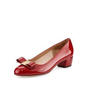 Salvatore Ferragamo Vara 1 Patent Bow Pump, Red (Rosso)