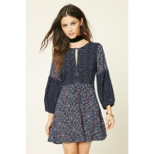 Fit and Flare Patchwork Dress