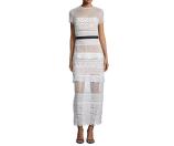 Self Portrait Oblique Lace Column Dress, White