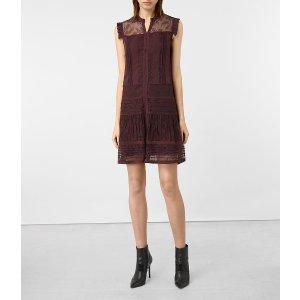 ALLSAINTS US: Womens Nia Jolene Dress (OXBLOOD RED)