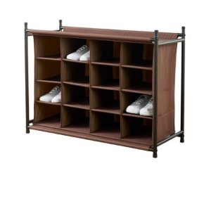 Neatfreak 16-Compartment Shoe Rack, Brown