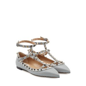 Rockstud Leather Flats from VALENTINO | Luxury fashion online | STYLEBOP.com