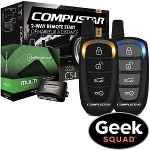 CompuStar 2-Way LED Vehicle Remote Starter Kit with Geek Squad Installation