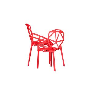 Modern Set of 2 Hollowed-Out Style Chair - Red - Sofamania