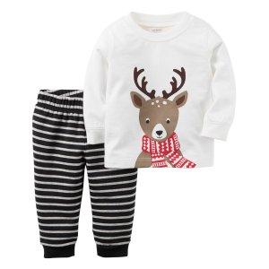 Baby Boy 2-Piece Reindeer Top & Fleece Pant Set | Carters.com