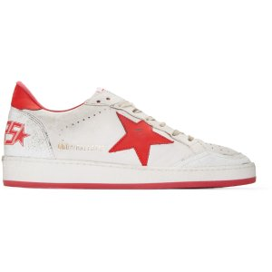 Golden Goose: White & Red Ball Star Sneakers