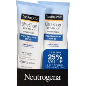 Neutrogena Ultra Sheer Drytouch Sunscreen, SPF 45, 3 Ounce Twin pack