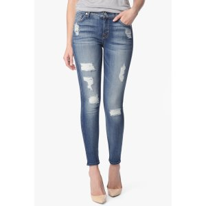 Ankle Skinny Jeans With Destroy in Distressed Authentic Light
