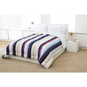 Madrid Reverse to Solid Microfiber Bedding Comforter, Full/Queen Size