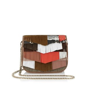 Terracotta Mix Satin Leather with Mixed Fringe and Elaphe Cross Body Bag、