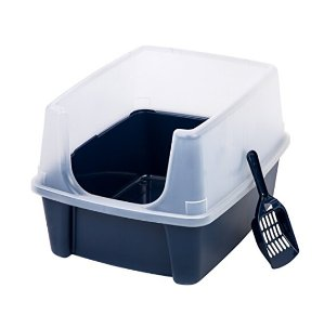 IRIS Open Top Litter Box with Shield and Scoop
