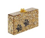 Edie Parker Jean Paws Box Clutch Bag, Gold/Silver