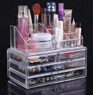 $14.83 Sodynee Jewelry and Cosmetic Storage 2 Piece Acrylic Makeup Organizer