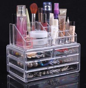 $14.83 Sodynee Jewelry and Cosmetic Storage 2 Piece Acrylic Makeup Organizer