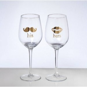 His & Hers Wine Glasses, Set of 2 - Beachy Pastels Decor