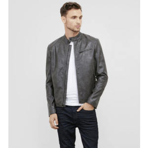 Stand Collar Faux Leather Moto   Kenneth Cole