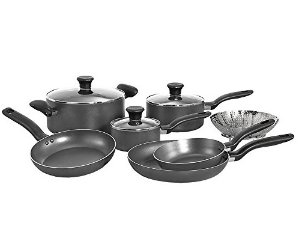 T-fal Initiatives Nonstick Inside and Out Dishwasher Safe Oven Safe Cookware Set, 10-Piece