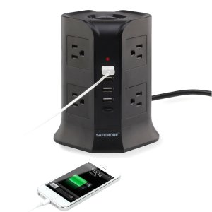 Safemore Power Strip Surge Protector 4000W 110-250V Smart 8-Outlet with 4-USB Ports Socket Black