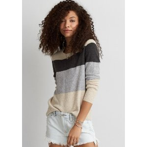 AEO STRIPED CREW SWEATER